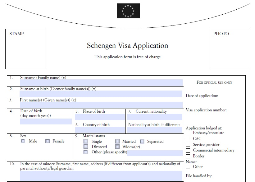 How To Fill Schengen Visa Application Form Step By Step Visa Bookings
