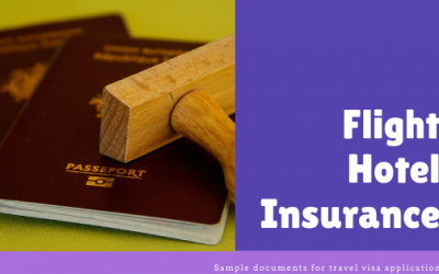 Sample flight reservation, hotel accommodation proof and insurance for visa application